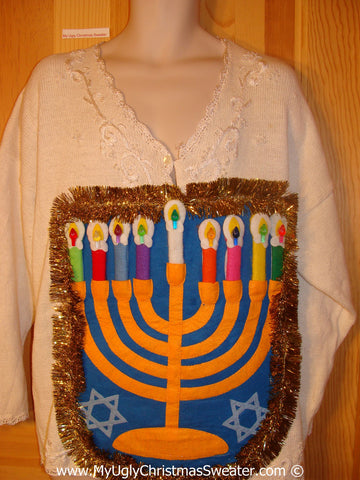 Ugly Christmas Sweater Party Hanukkah Sweater  Menorah (j291)