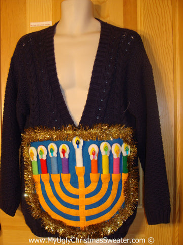Ugly Christmas Sweater Party Hanukkah Sweater  Menorah (j296)