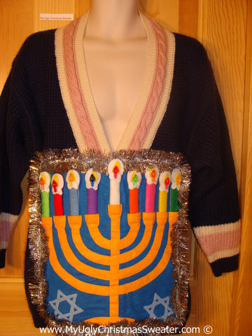 Ugly Christmas Sweater Party Hanukkah Sweater  Menorah (j298)