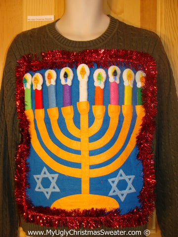 Ugly Christmas Sweater Party Hanukkah Sweater  Menorah (j299)