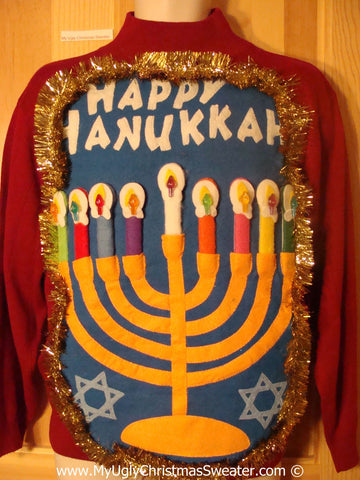 Ugly Christmas Sweater Party Hanukkah Sweater  Menorah (j302)