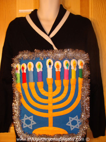 Ugly Christmas Sweater Party Hanukkah Sweater  Menorah (j303)