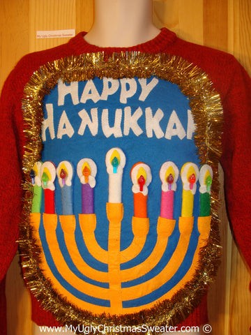 Ugly Christmas Sweater Party Hanukkah Sweater  Menorah (j304)