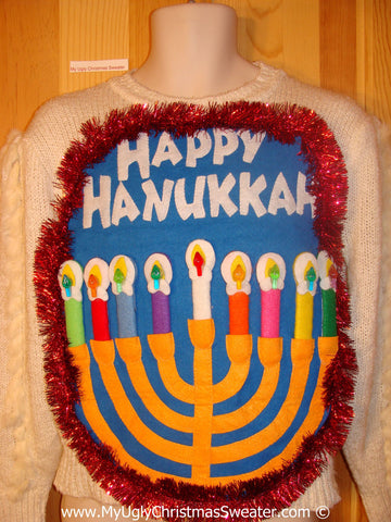 Ugly Christmas Sweater Party Hanukkah Sweater  Menorah 80s Style (j305)