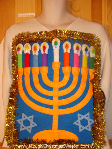 Ugly Christmas Sweater Party Hanukkah Sweater  Menorah (j306)