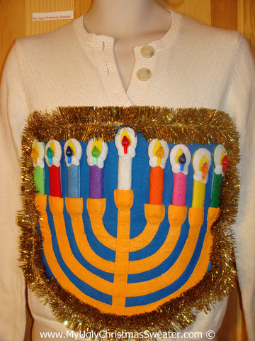 Ugly Christmas Sweater Party Hanukkah Sweater  Menorah (j307)