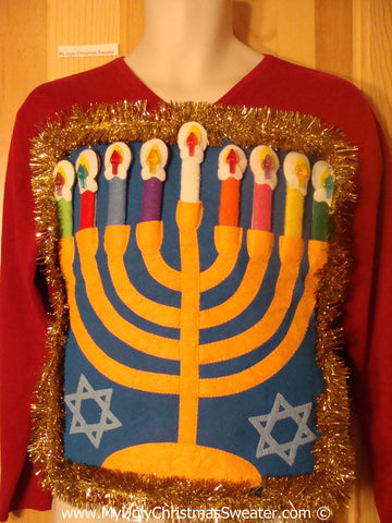 Ugly Christmas Sweater Party Hanukkah Sweater  Menorah (j308)