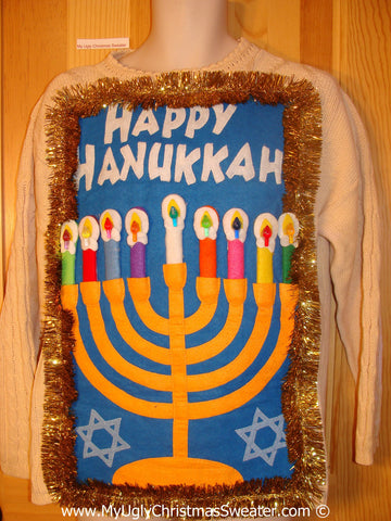 Ugly Christmas Sweater Party Hanukkah Sweater  Menorah (j309)