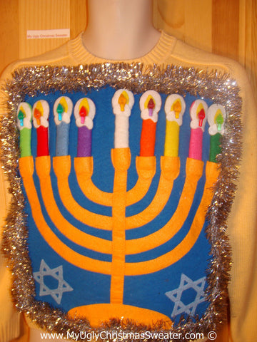 Ugly Christmas Sweater Party Hanukkah Sweater  Menorah (j311)
