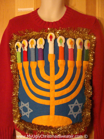 Ugly Christmas Sweater Party Hanukkah Sweater  Menorah (j312)