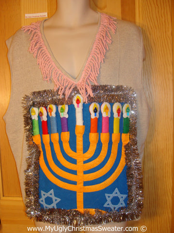 Ugly Christmas Sweater Party Hanukkah Sweater Vest with  Menorah (j313)