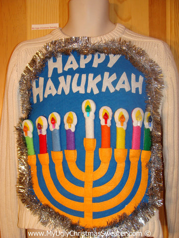 Ugly Christmas Sweater Party Hanukkah Sweater  Menorah (j316)