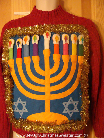 Ugly Christmas Sweater Party Hanukkah Sweater  Menorah