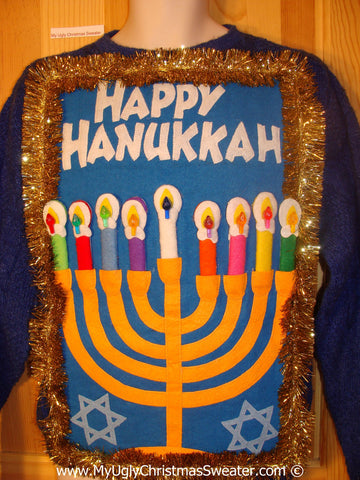Ugly Christmas Sweater Party Hanukkah Sweater  Menorah (j318)