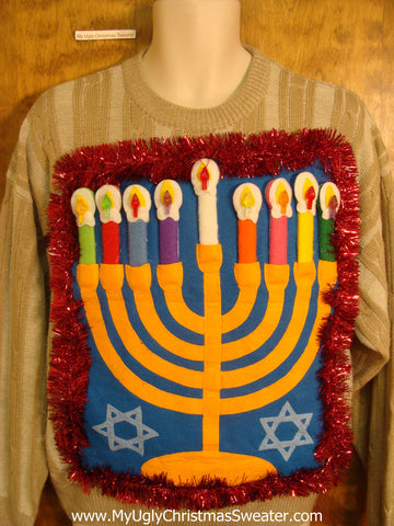 Striped Tacky Hanukkah Sweater with Menorah