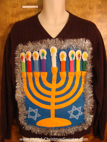 Vneck Hanukkah Sweater with Silver Garland