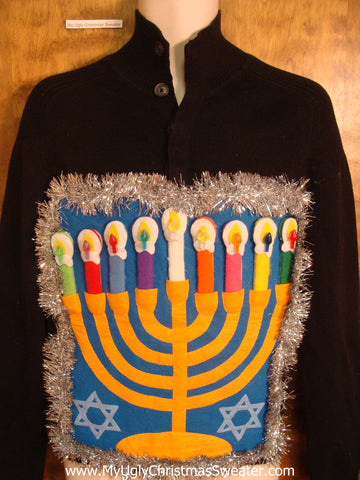 Tneck Tacky Hanukkah Sweater with Menorah