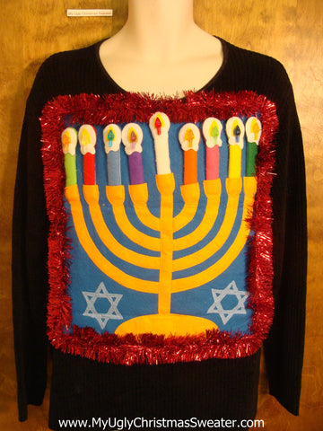Ridiculous Mens Hanukkah Sweater with Menorah