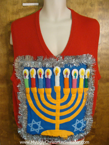 Bright Tacky Hanukkah Sweater Vest