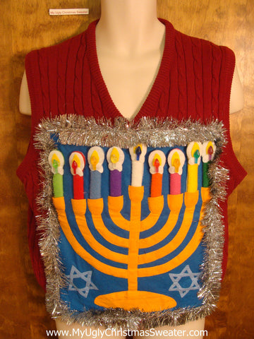 Ribbed Colorful Hanukkah Sweater Vest