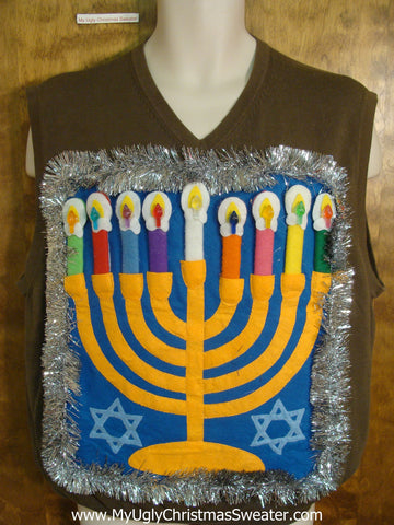 Green Vneck Hanukkah Sweater Vest