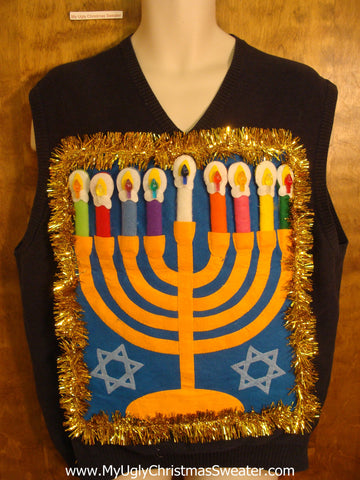 Hanukkah Sweater Vest with Golden Garland