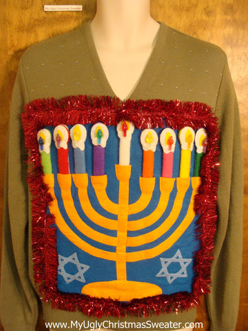 Amazing Vneck Mens Hanukkah Sweater with Menorah