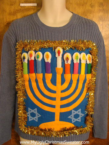 Blue Crewneck Hanukkah Sweater