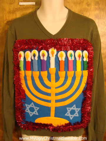 Pea Green Vneck Hanukkah Sweater with Menorah