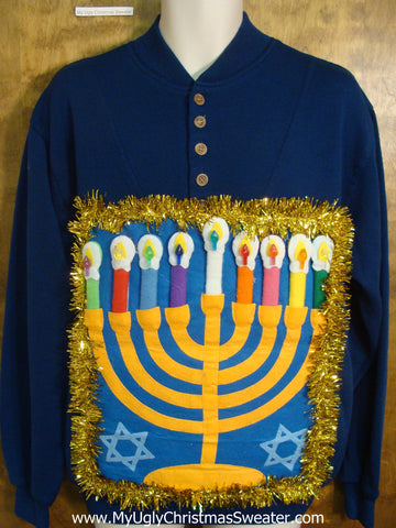 Bright Blue Hanukkah Sweater with Menorah