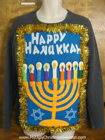 Blue Grey Happy Hanukkah Sweater