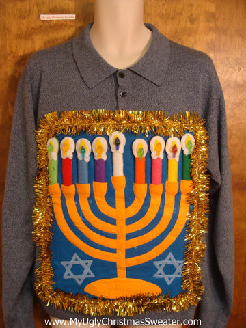Blue Hanukkah Sweater with Button Neckline