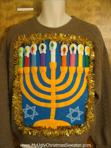 Tacky Brown Hanukkah Sweater with Menorah