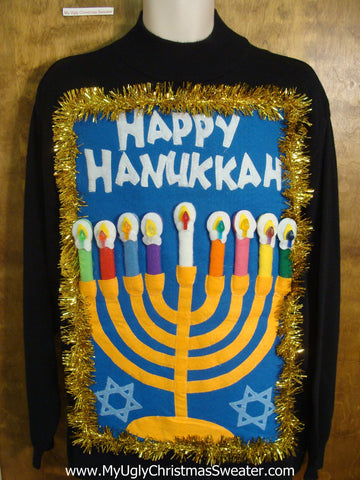 Mock Tneck Hanukkah Sweater with Menorah