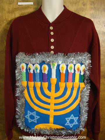 Deep Burgandy Mens Hanukkah Sweater