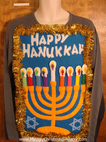 Grey Happy Hanukkah Sweater