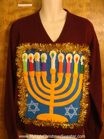 Maroon Vneck Hanukkah Sweater with Menorah