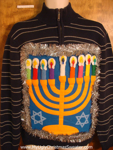Striped Hanukkah Sweater with Menorah
