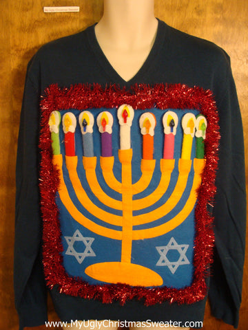 Blue Green Hanukkah Sweater with Red Garland