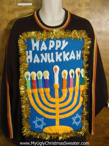Mens Happy Hanukkah Pullover with Garland