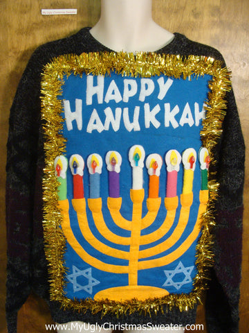 Hanukkah Pullover with Bright Menorah