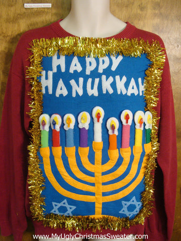 Red Tacky Hanukkah Sweater with Menorah
