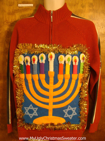Tacky Fun Hanukkah Sweater with Colorful Menorah
