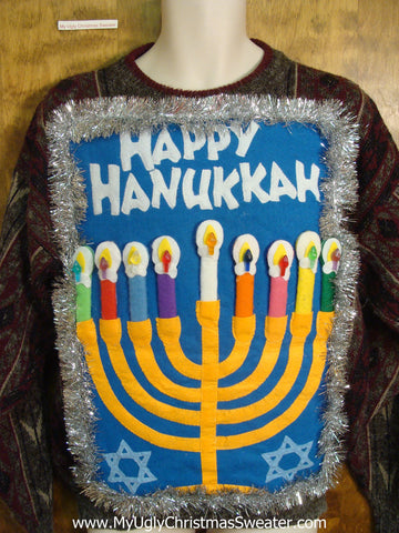Fun HAPPY HANUKKAH Pullover with Festive Menorah