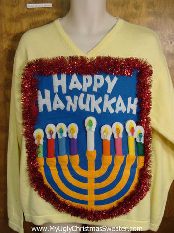 Light Yellow Happy Hanukkah Sweater