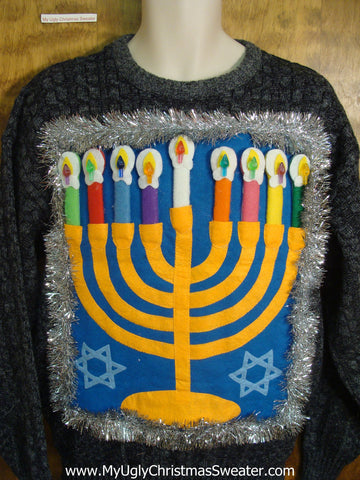 Dark Grey Festive Hanukkah Sweater