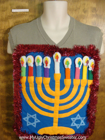 Grey Mens Hanukkah Sweater Vest