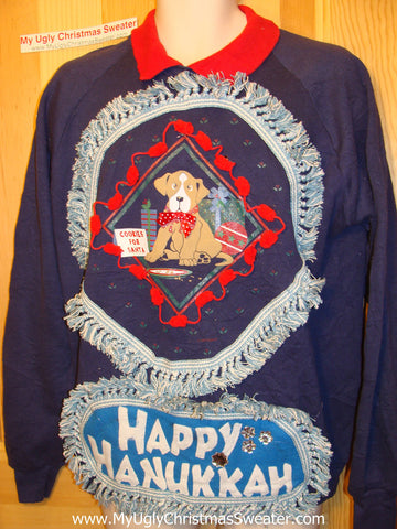 Happy Hanukkah Festive Sweatshirt with Dog and Fringe (j65)