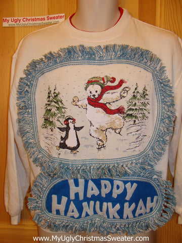 Happy Hanukkah Festive Sweatshirt with Fringe (j66)