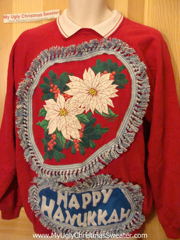 Happy Hanukkah Festive Sweatshirt with Fringe (j67)